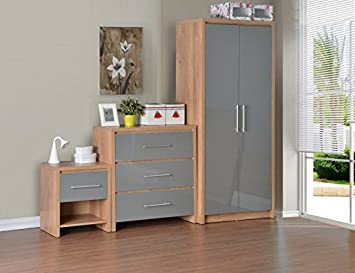 Seconique Seville Bedroom Set, Wood, Light Oak Veneer/Grey High Gloss