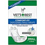 Veterinarian's Best Comfort-Fit 12 Count Disposable Male Wrap, Small