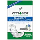 Veterinarians Best Comfort-Fit 12 Count Disposable Male Wrap, Small