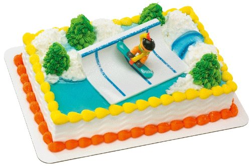 Snowboarder Half Pipe DecoSet Cake Decoration