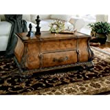 Wood Trunk Table w Ornamental Straps & Carvings