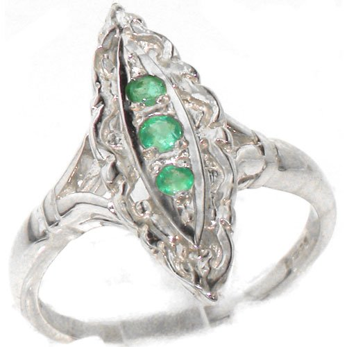 Rare Vintage Design Solid Sterling Silver Natural Emerald Ring with English Hallmarks - Size 11.75 - Finger Sizes 4 to 12 Available - Suitable as an Anniversary ring, Engagement ring, Eternity Ring, or Promise ring