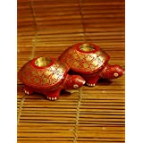 """The India Craft House 2-Turtle-set-of- Candle Stand (H-3.5""""*W-6"""") KATCS472R"""