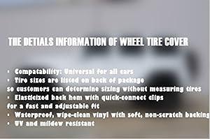 RV Truck Spare Tire Cover Black Soft PVC 33 Dia SUV Trailer 18 Altopcar Overdrive Universal Fit for Jeep