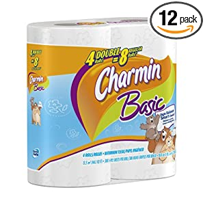 Charmin Basic Toilet Paper 4 Double Rolls,   (Pack of 12)