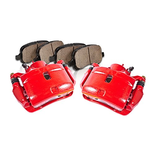 CK01450 [2] FRONT Performance Loaded Red Caliper Assembly + Quiet Low Dust Ceramic Brake Pads (Honda Brake Parts compare prices)