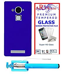 AryaMobi Hard Back Case Cover for Coolpad Note 3 - Blue,Tempered Glass, Selfie Stick Aux Port