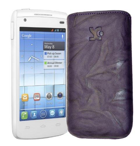 Original Suncase Tasche fuer / Alcatel One Touch 992D (Dual-Sim) / Leder Etui Handytasche Ledertasche Schutzhuelle Case Huelle - Lasche mit Rueckzugfunktion* In Wash-Dunkel-Lila
