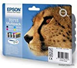 T0715 Multipack Original Epson Ink Cartridges for Epson Stylus Printers S20 S21 SX105 SX110 SX115 SX200 SX205 SX210 SX215 SX218 SX400FW SX405 SX410 SX415 SX515W SX600FW SX610FW D120 D78 D92 DX4000 DX4050 DX4400 DX4450 DX5000 DX5050 DX6000 DX6050 DX7000F