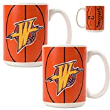 Golden State Warriors NBA 2pc Ceramic Gameball Mug Set - Primary Logo