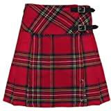 Royal Stewart 16.5 Inch Tartan Scottish Highland Mini Kilt Skirt Free Pin 6-28