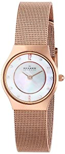 Skagen Ladies Crystal Accented MOP Copper Mesh Watch - 233XSRR