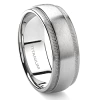 Titanium 8mm Milgrain Wedding Band Ring Sz 9.0 SN#534