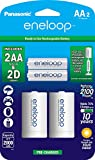 """Panasonic K-KJS1MCA2BA eneloop AA NEW 2100 Cycle, Ni-MH Pre-Charged Rechargeable Batteries, 2 Pack with 2 """"D"""" Spacers"""