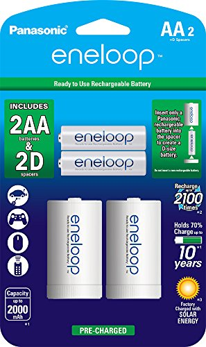 Panasonic K-KJS1MCA2BA eneloop AA NEW 2100 Cycle, Ni-MH Pre-Charged Rechargeable Batteries, 2 Pack with 2