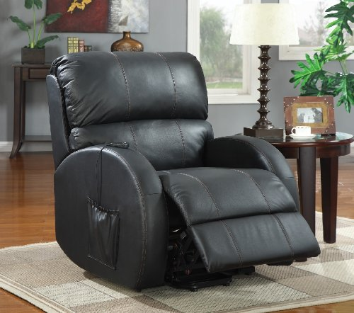 Power Lift Recliner in Black Leather by Coaster