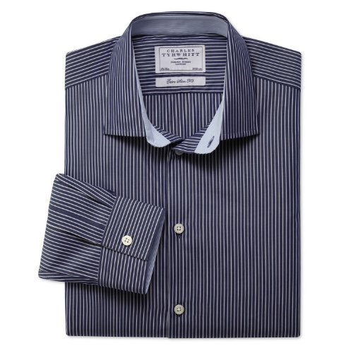 Charles Tyrwhitt Navy and fine white stripe business casual extra slim fit shirt (16 - 33)
