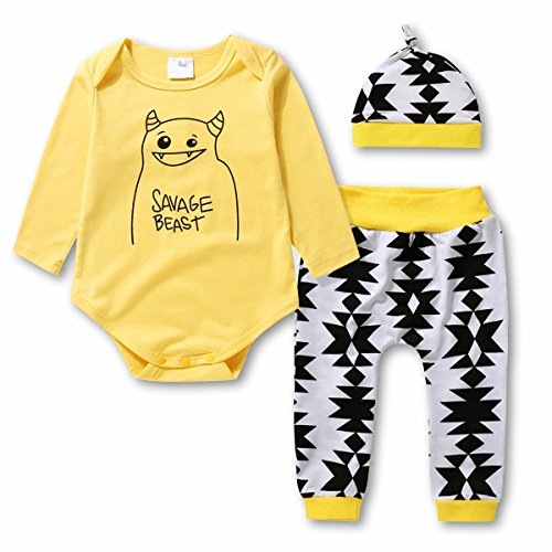 Baby Boys Girls 3 Pcs Bodysuits & Pants & Cap Clothes Set - Infant Outfit/Pajama, Yellow, 100(18-24 Month)
