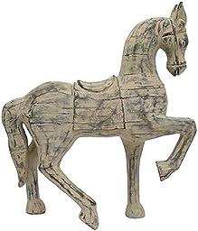 Distressed Wood Horse Figurine, 15.5\