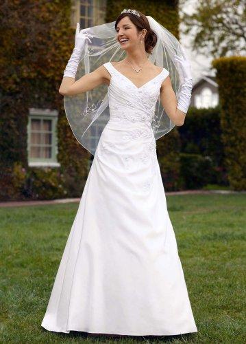 David 39 s bridal wedding dress satin off the shoulder side for Side draped wedding dress