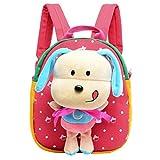 Happy Cherry Beb� Ni�o Ni�a Mochila Cartoon Bolso con Plush Perrito Animal Backpack Para Escuela Guarder�a - Rosa