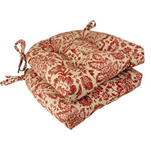Pillow Perfect Damask Reversible Chair Pad, Red/Tan, Set of 2 by Pillow Perfect