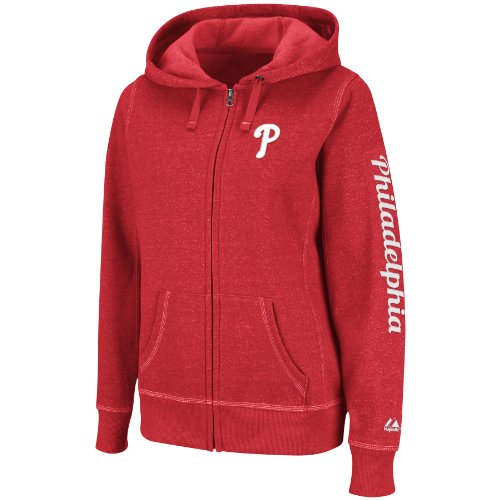 Philadelphia Phillies Women's Majestic Steppin' Up Full Zip Hooded Red Sweatshirt