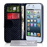 """iPhone 5 Tasche PU Leder Carbon Faser Brieftasche - Schwarzvon """"Yousave Accessories�"""""""