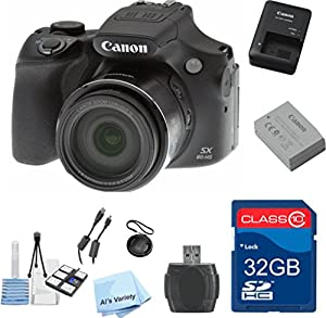 Canon PowerShot SX60 HS Value Bundle + 32 gb Memory Card + High-Speed Card Reader + Cap Keeper + 6 PC Starter Kit - International Version
