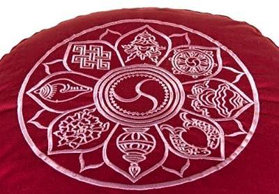 Meditationskissen Glückssitz 8 Glückverheißende Symbole bordeaux, 33 cm x 17 cm, Bezug und Inlett 100 % Baumwolle, Füllung Buchweizenschalen, Bezug und Inlett maschinenwaschbar bis 30º C