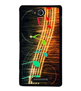 Fuson Premium 2D Back Case Cover Music is Life With yellow Background Degined For Sony Xperia C