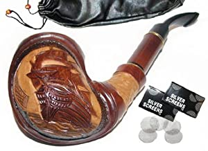 Pear Wood Hand Carved Tobacco Smoking Pipe Ship + Pouch