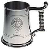 MacBean Crest Tankard with Rope Handle in Polished Pewter 1 Pint Capacity