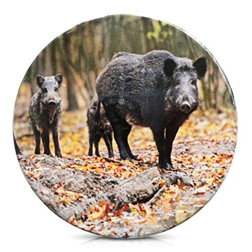 Porzellan Untersetzer für Gläser Porzellanuntersetzer Wildschwein Wild Schwein 11 cm