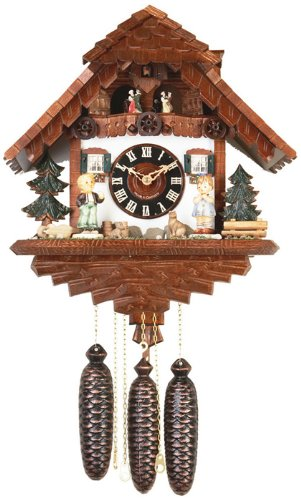 River City Clocks MD826-15 Eight Day Musical Chalet Cuckoo Clock with Dancers, Boy And Girl In Farmyard, 15-Inch Tall
