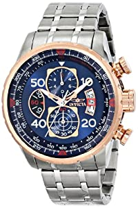 """Invicta Men's 17203 """"AVIATOR"""" Stainless Steel and 18k Rose Gold Ion-Plated Casual Watch"""