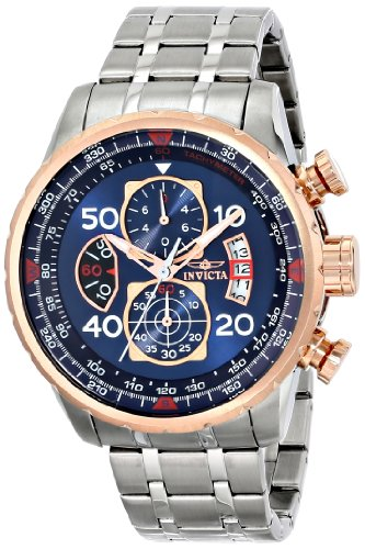 "Invicta Men's 17203 ""AVIATOR"" Stainless Steel and 18k Rose Gold Ion-Plated Casual Watch"