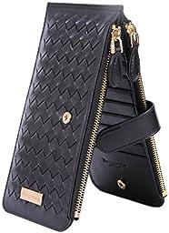 Borgasets Women\'s Leather Zipper Wallet Card Case Purse Hand Woven Black