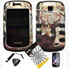4 items Combo: ITUFFY(TM) LCD Screen Protector Film + Mini Stylus Pen + Case Opener + Silver Pine Tree Deer Leaves Camouflage Outdoor Wildlife Design Rubberized Hard Plastic + Black Soft Rubber TPU Skin Dual Layer Tough Hybrid Case for Straight Talk Samsung Galaxy Proclaim 720C SCH-S720C / Verizon Samsung Illusion i110