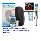 Dr.Gene Accu Sure Glucometer (Blue) With 10 Strips+ 50 Strips And A Digital Thermometer