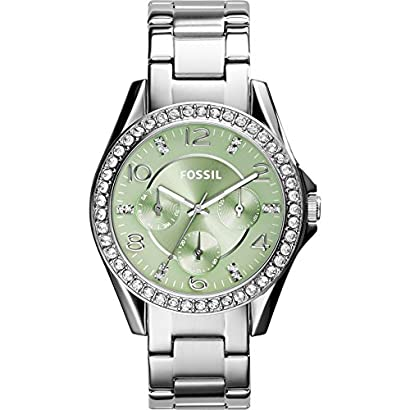 Fossil Women S Es3725 Riley Crystal Accented Stainless Steel Watch With Link Bracelet Tsewcxzs 81