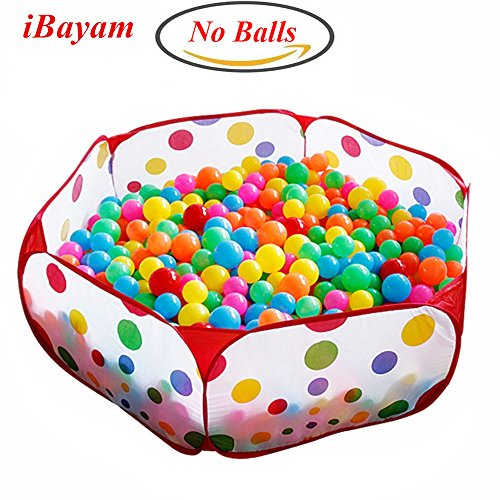iBayam-Toy-Play-Tent-Baby-Ball-Pit-Kids-Playpen-Children-Play-Pool-Hexagon-Polka-Dot-with-Zippered-Storage-Bag-5905-inches