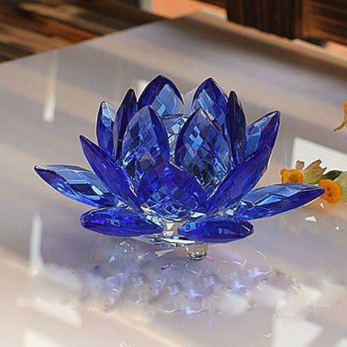 Amlong Crystal 3 Inch Sapphire Blue Crystal Lotus Flower