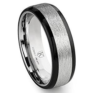 Cobalt XF Chrome 8MM Italian Di Seta Finish Two-Tone Flat Wedding Band Ring w/ Rounded Edges Sz 7.0 SN#785