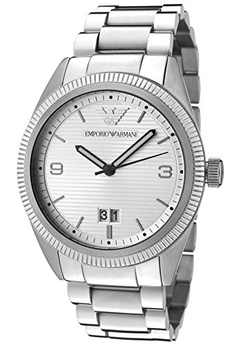 Emporio Armani AR5894 - Reloj analógico de cuarzo para hombre, correa de acero inoxidable chapado color plateado