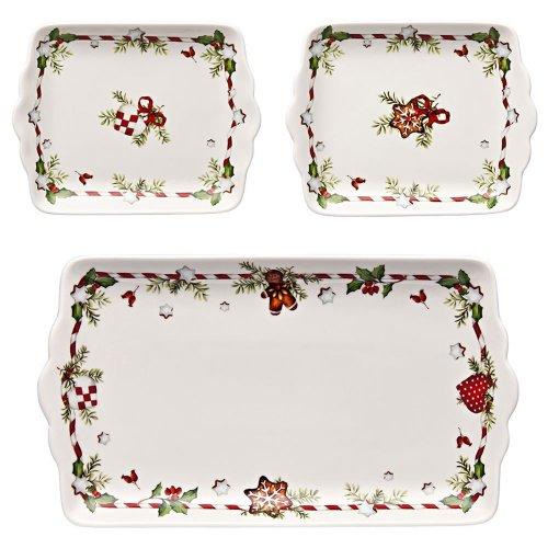 Hutschenreuther - Set di 3 zuppiere 02460-725492-28422 decorate con motivi natalizi