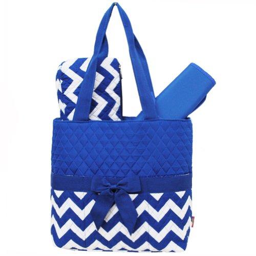 White & Blue Chevron Print Quilted Diaper Bag-blue