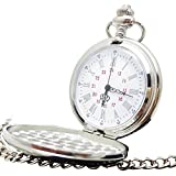 [モノジー] MONOZY アンティーク 懐中時計 鏡面 フルハンター シンプル シルバー インデックス 【収納袋・化粧箱 セット】 レトロ 懐中時計