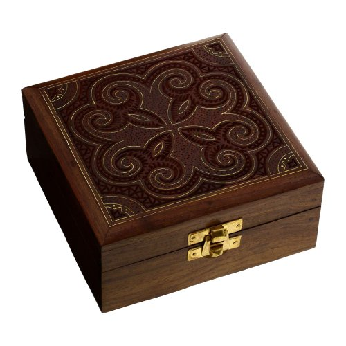 Wooden Jewelry Box Handmade Gift Floral Art Inlay 5x5x2.25 Inches