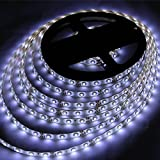 Hatori LED Strip light, Waterproof LED Flexible Light Strip 12V with 300 SMD LED, 3528 16.4 Foot / 5 Meter (Pure white